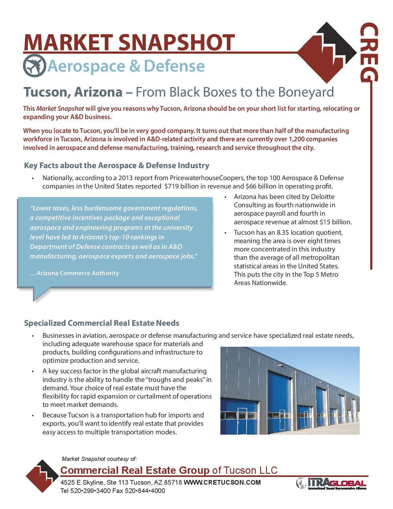 2014 Aerospace & Defence Industrial Market Snapshot for Commercial Real Estate Group of Tucson Arizona by Michael Coretz (IMG)