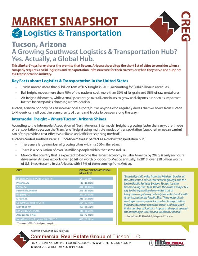 2014 Logistics & Transportation Industrial Market Snapshot - Commercial Real Estate Group of Tucson Arizona (IMG)