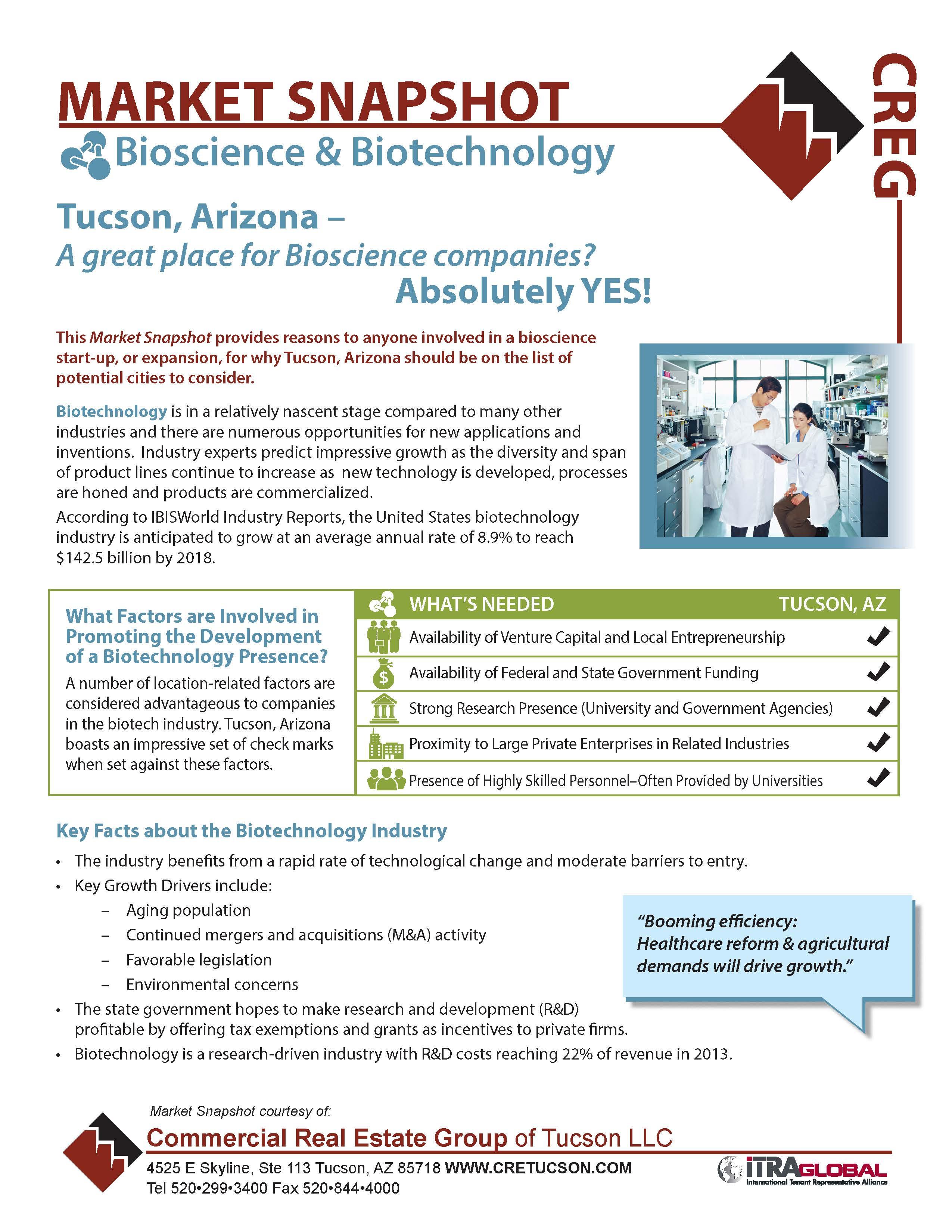 Bio Market Snapshot for Tucson, Arizona