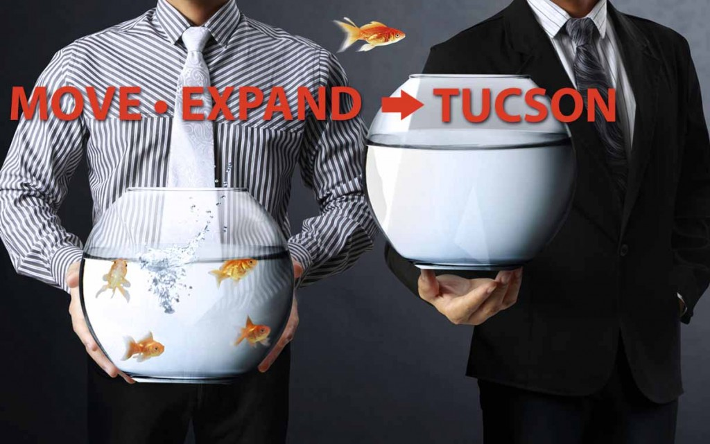 """Move, Expand to Tucson"" shows a fish jumping from a crowded bowl of fish to an empty one."