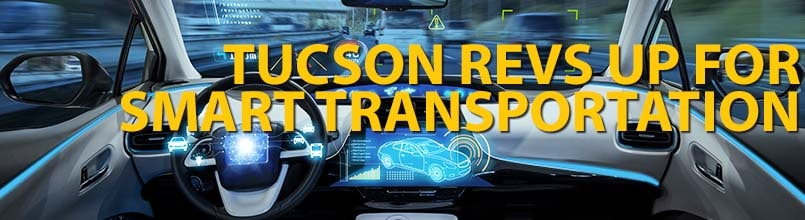 "Smart car with words ""Tucson revs up smart transportation"""