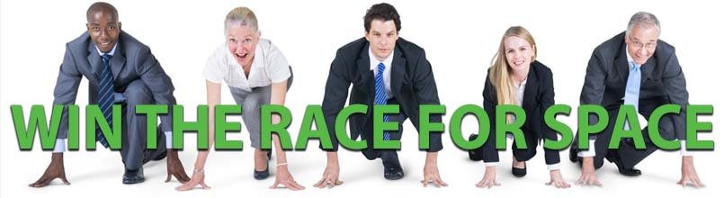 """Business people line up to run above the words """"win the race for space"""""""