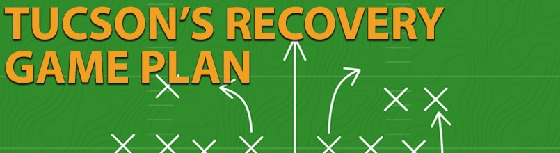 """The words """"Tucson's recovery game plan"""" is set over an illustration of a football play using x's, o's and arrows."""