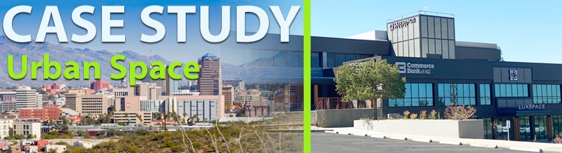 The words Case Study: Urban Space is over a photo of the downtown Tucson skyline while a second photo shows the new Tucson office space for Tiltify.