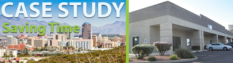 """Photo of downtown Tucson skyline is under the words """"Case Study Saving Time."""" Next to it is a photo of an office building."""